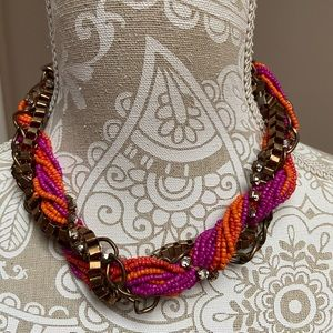 Purple, Orange, and Metal Twisted Necklace